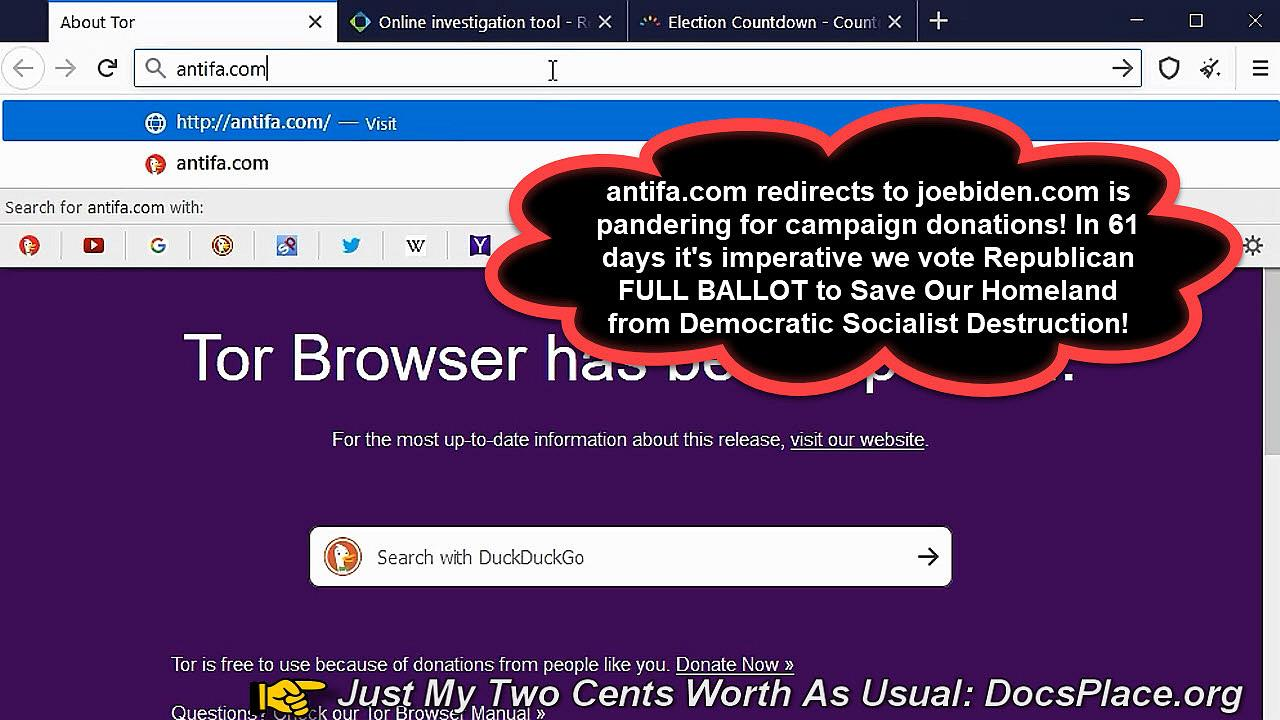 Antifa Domain Redirects To Joe Biden Campaign Website